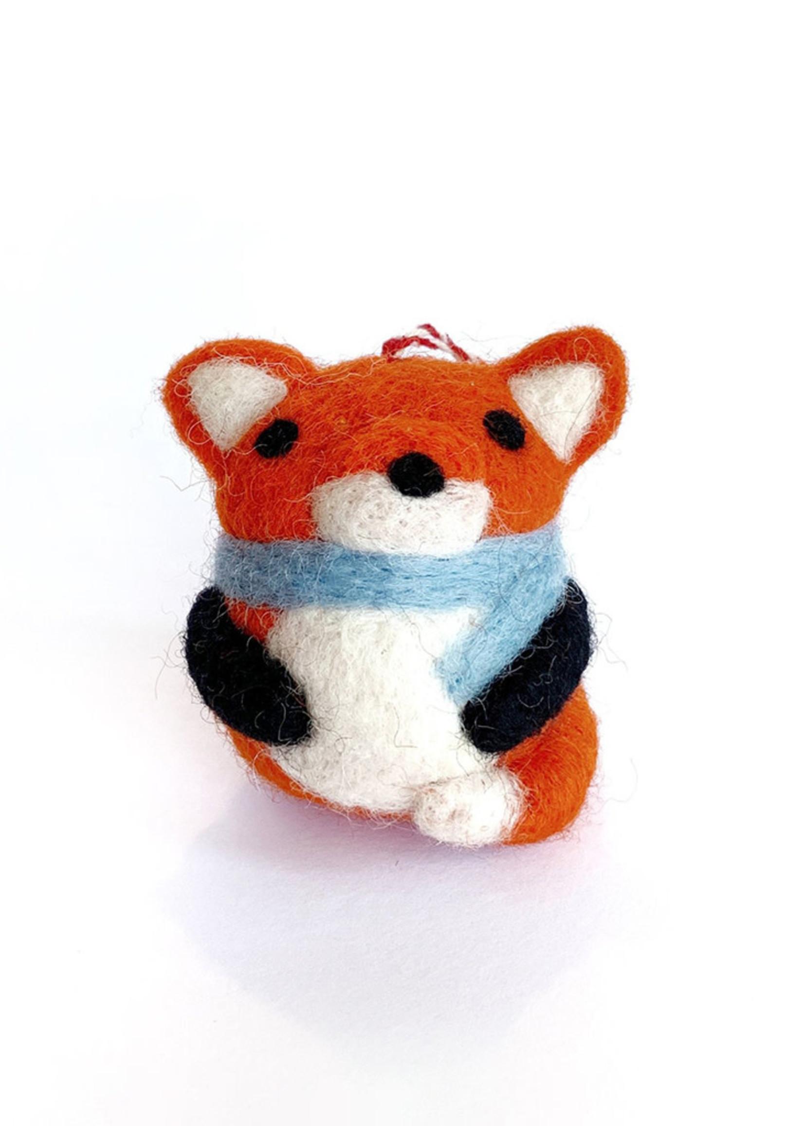 Tufted Wool Fox Ornament