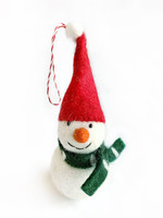 Tufted Wool Snowman with Hat Ornament