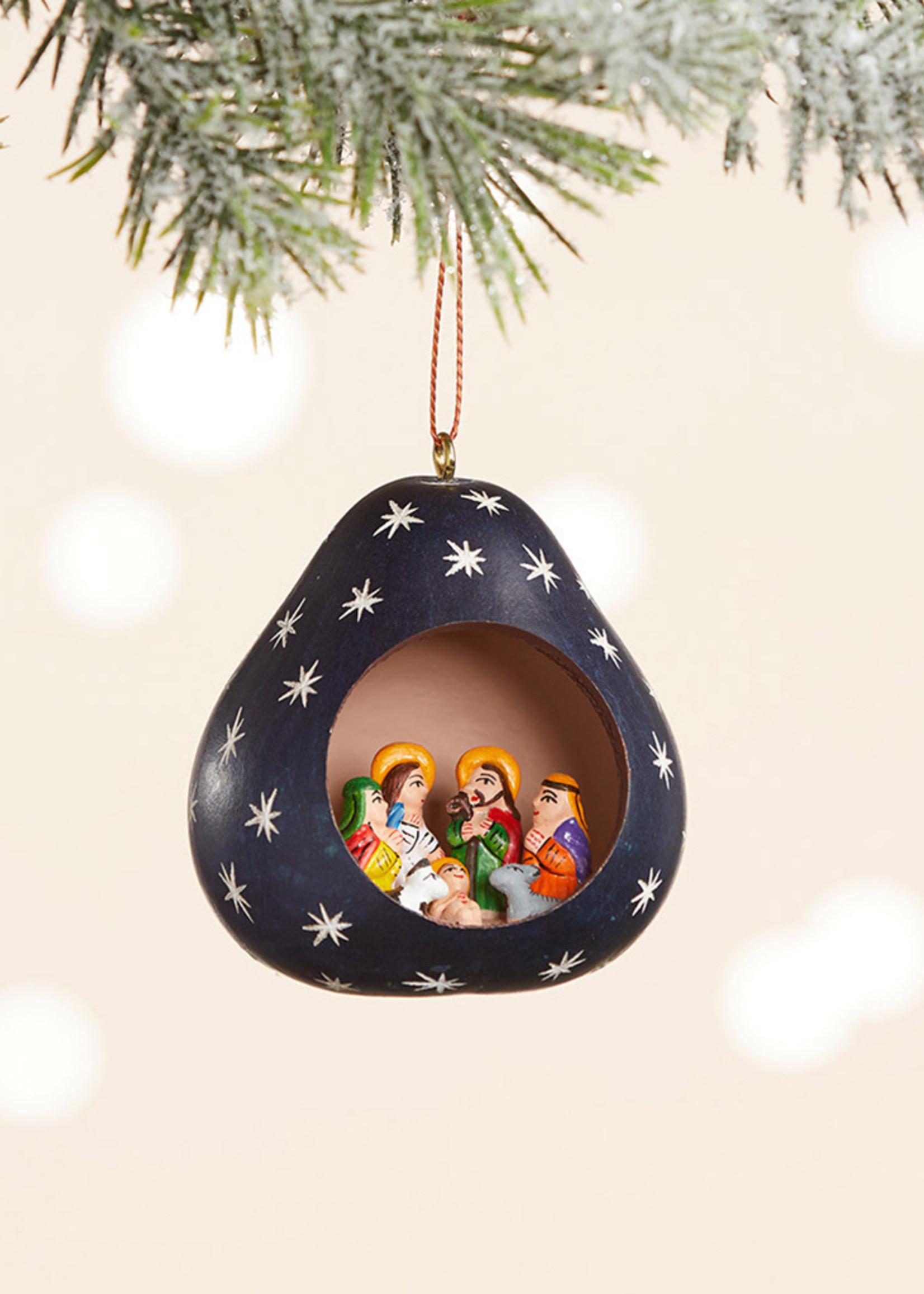 Night Sky Gourd Nativity Ornament