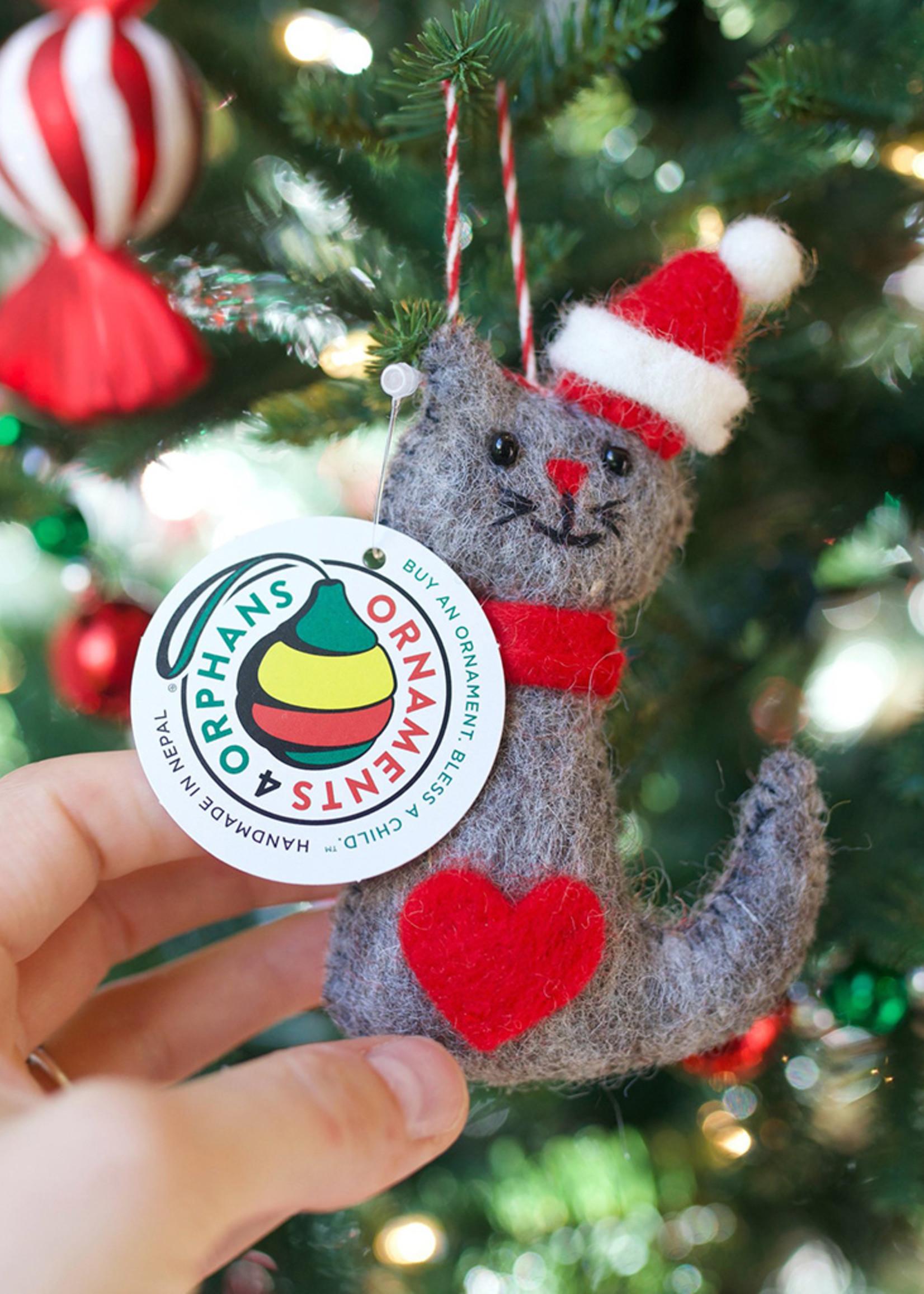 Felt Santa Hat Cat Ornament