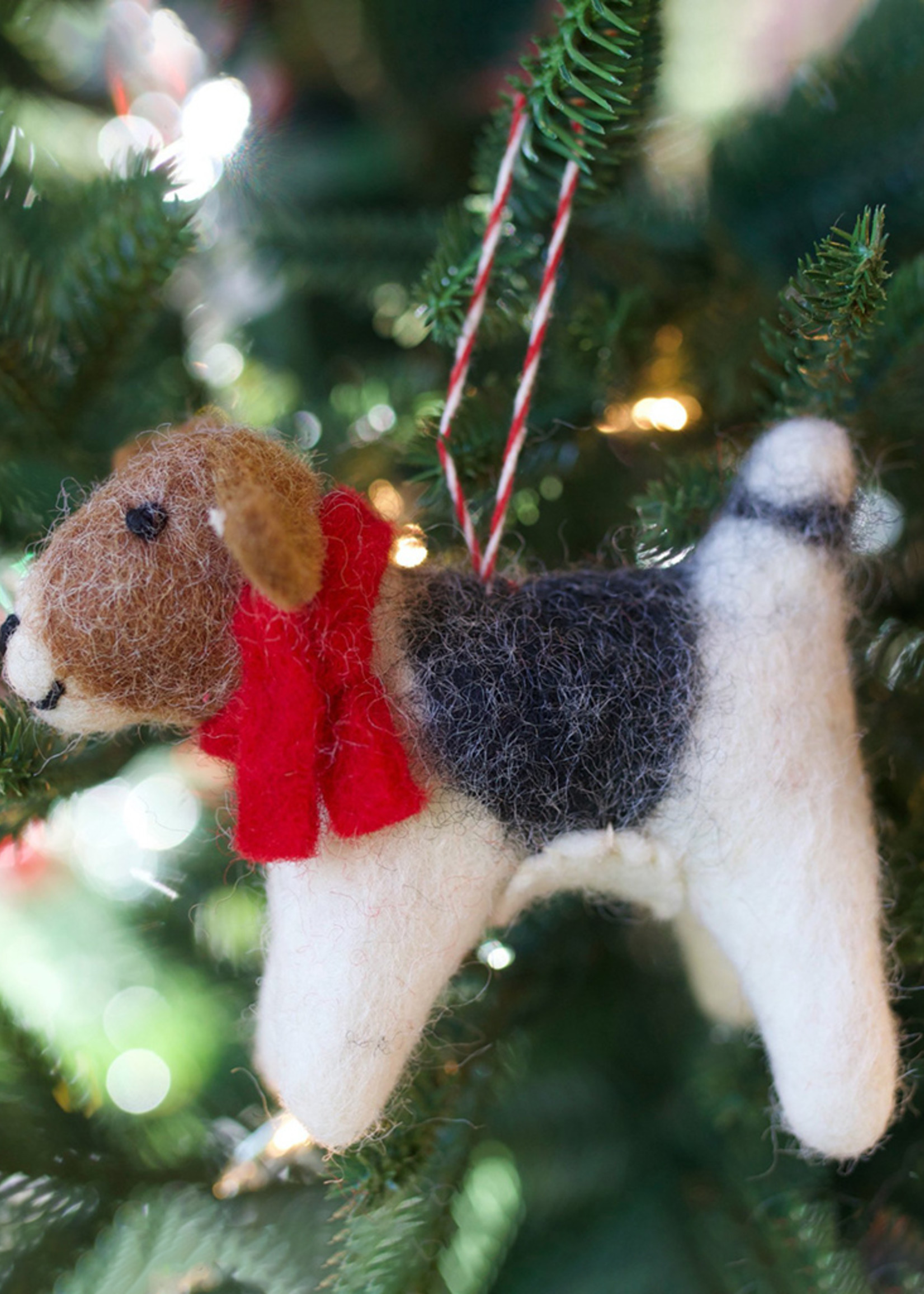 Tufted Wool Dog with Scarf Ornament