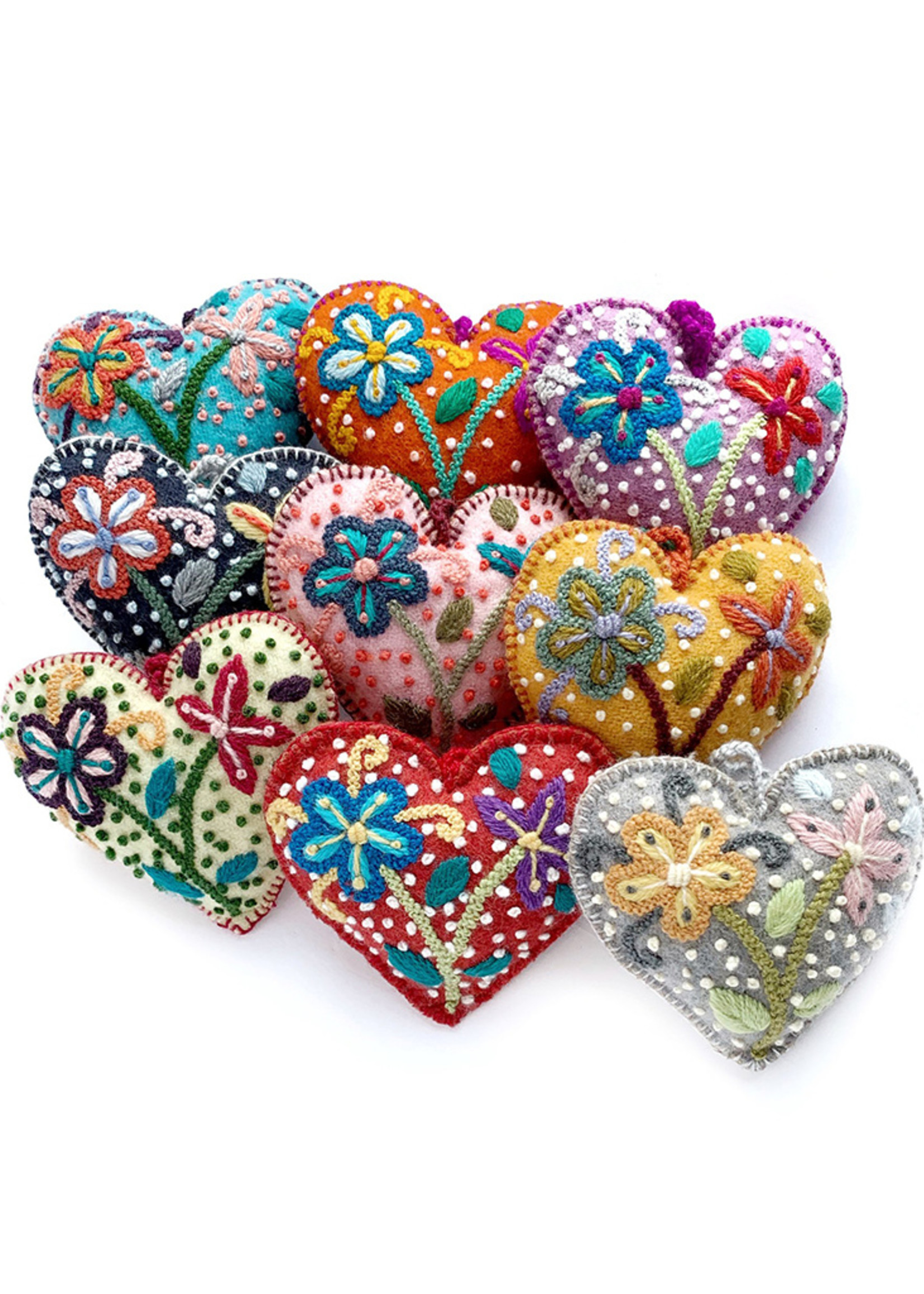 Colorful Flower Heart Ornament