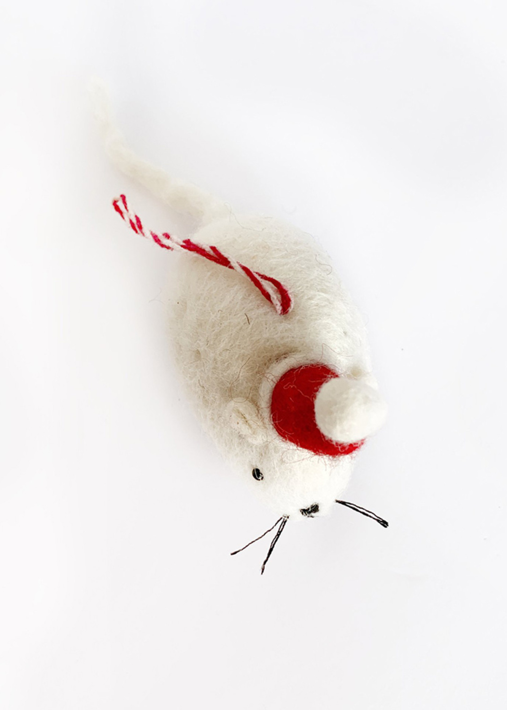 Tufted Wool Mouse with Hat Ornament