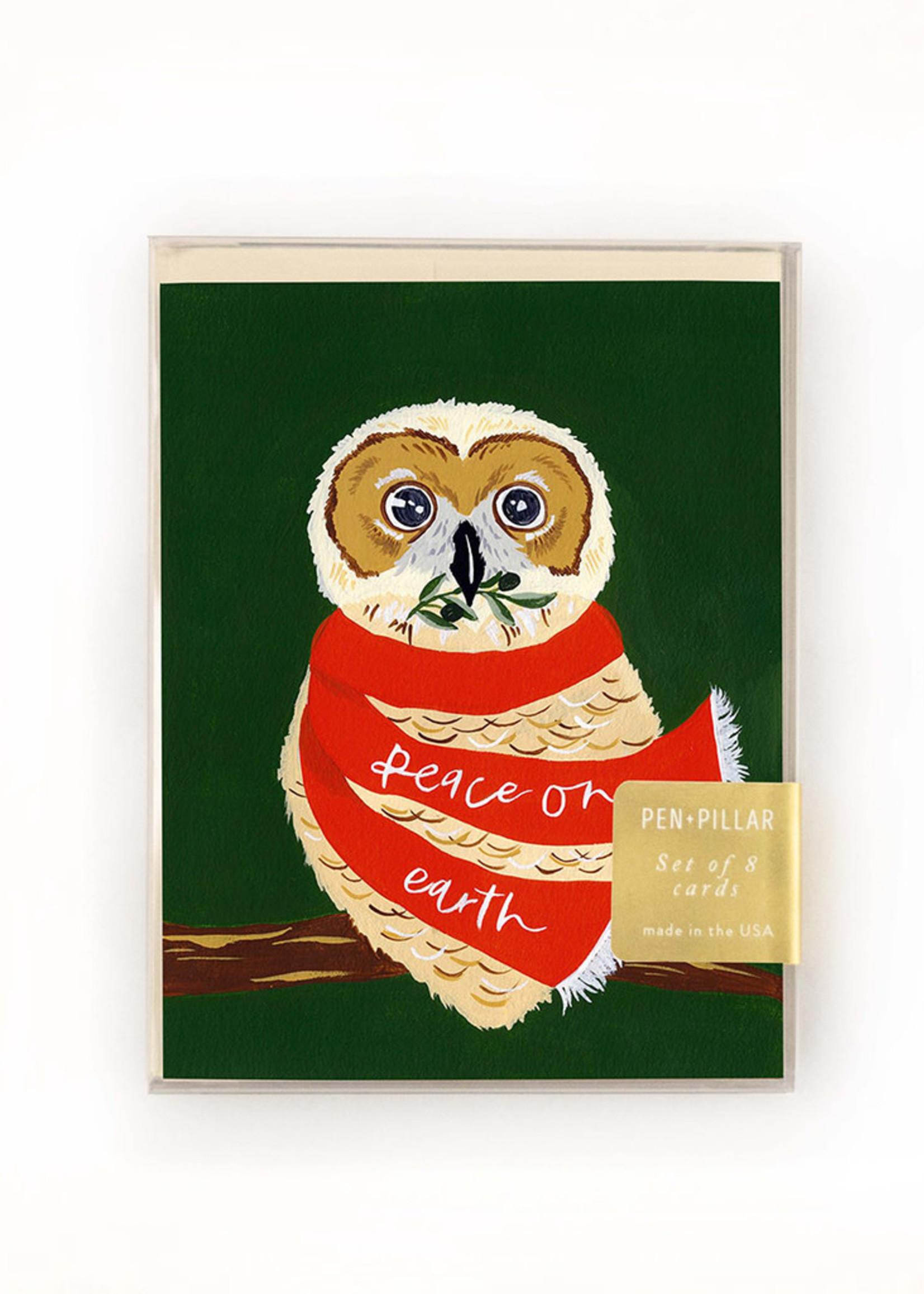 Peace on Earth Owl Holiday Card Set