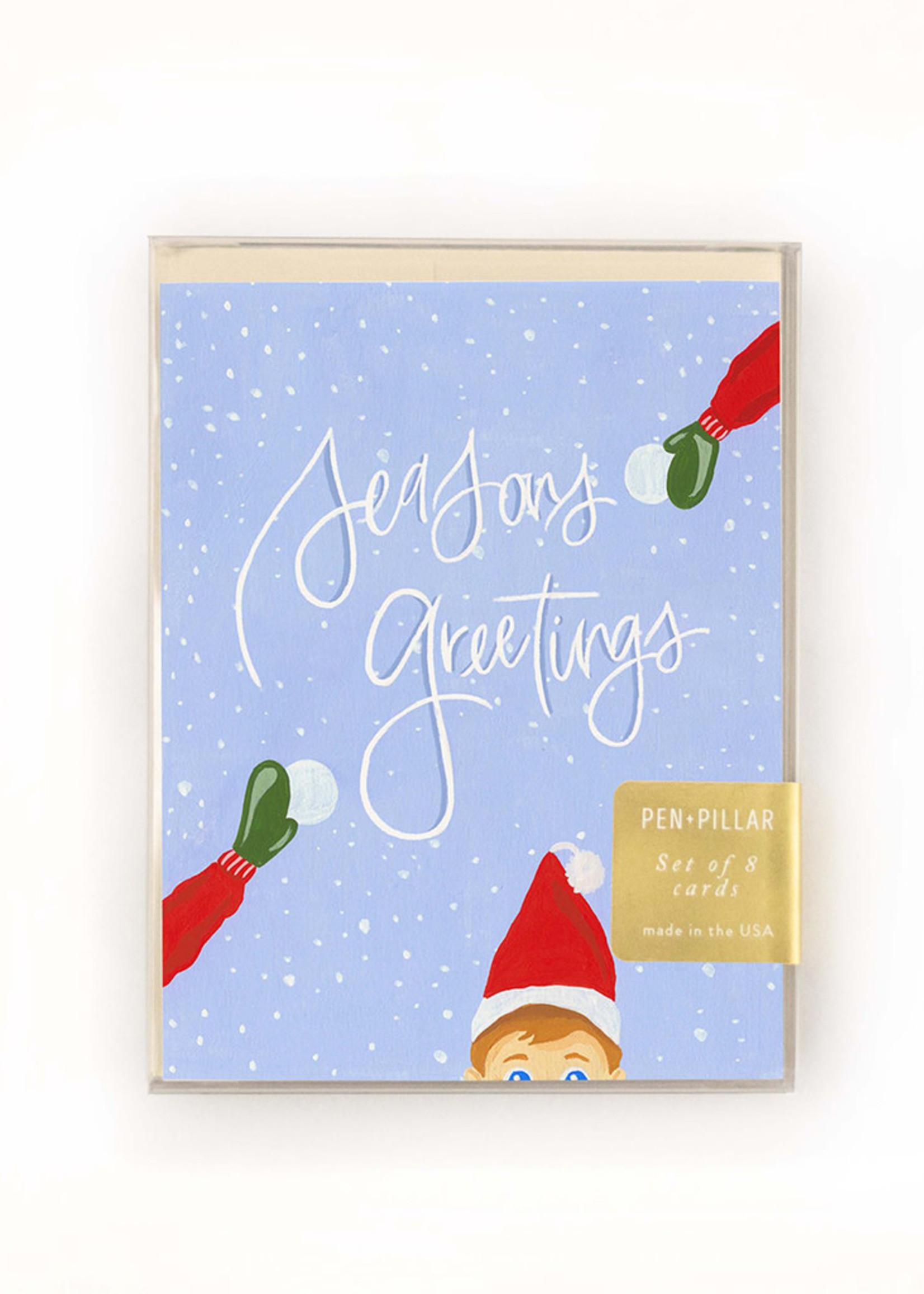 Elf Greeting Holiday Card Set