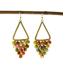 WorldFinds Kantha Reflective Chandelier Earrings