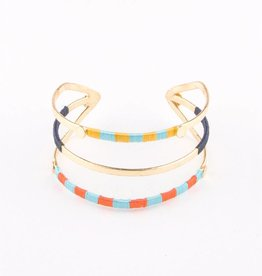 Mata Traders Threaded Trio Gold Cuff