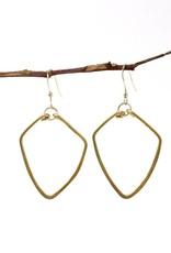Forai Hammered Brass Diamond Earrings