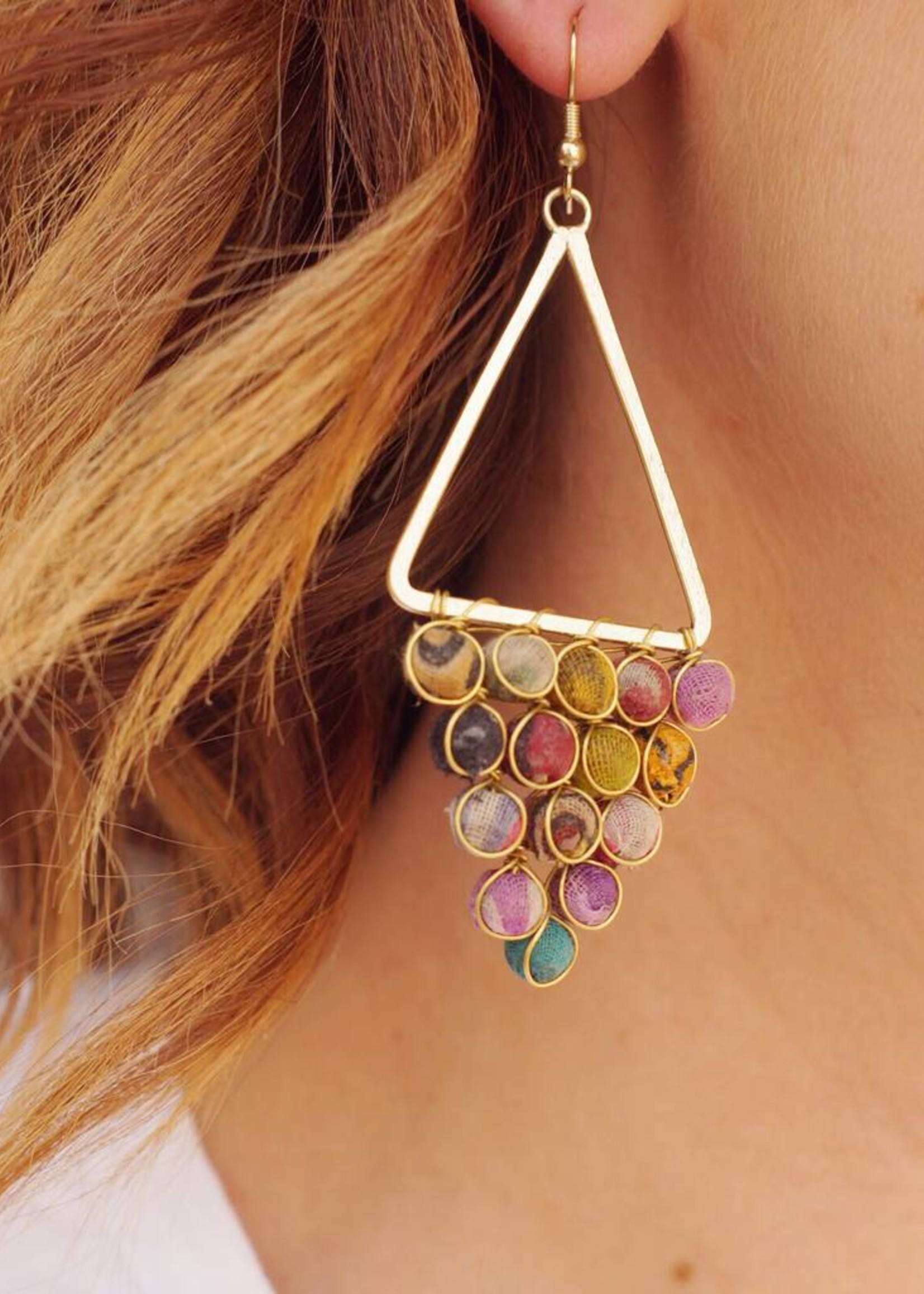 WorldFinds Kantha Reflective Chandelier Earrings