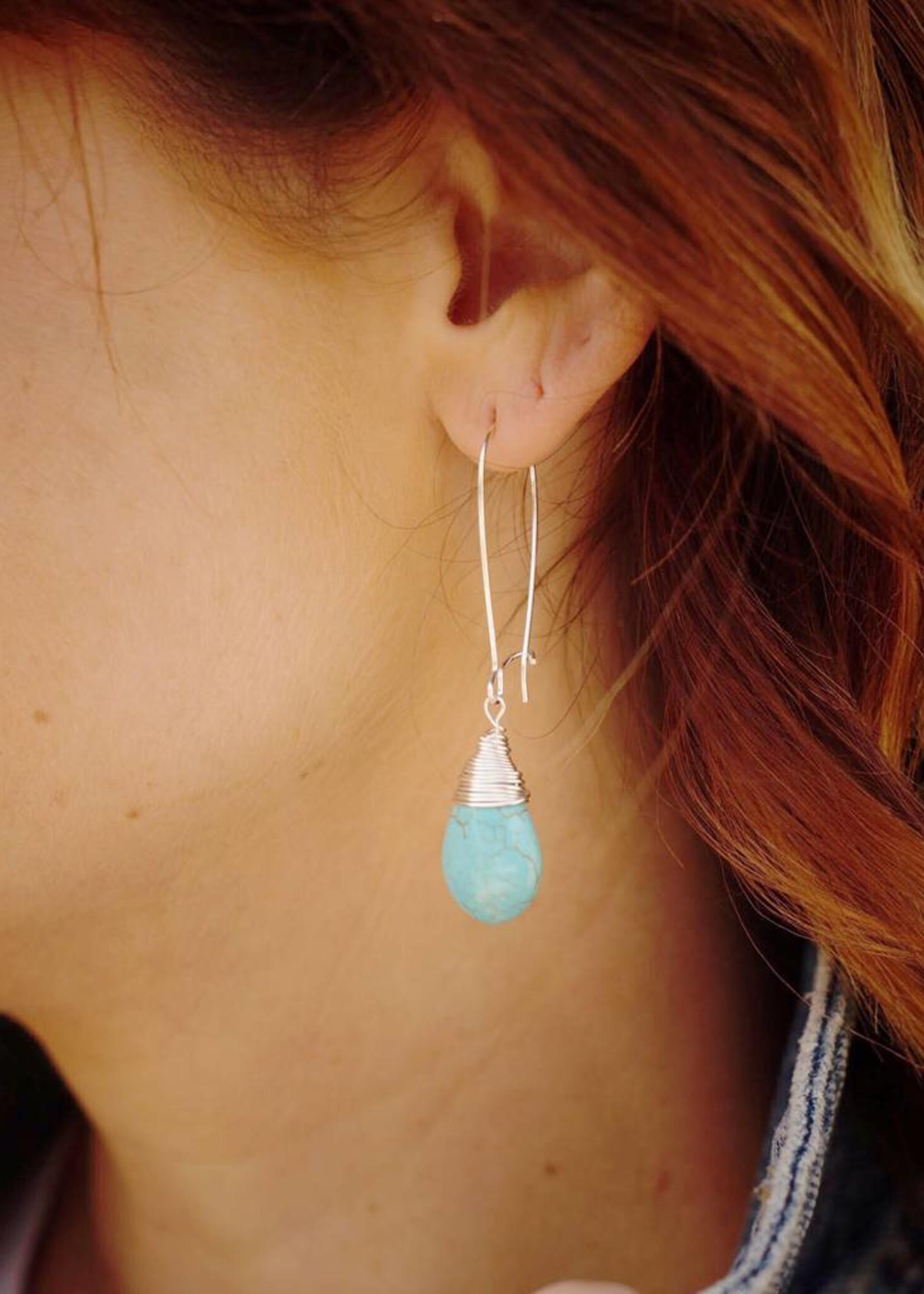 Forai Silver Teardrop Turquoise Earrings
