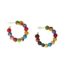 WorldFinds Kantha Mini Hoop Earrings