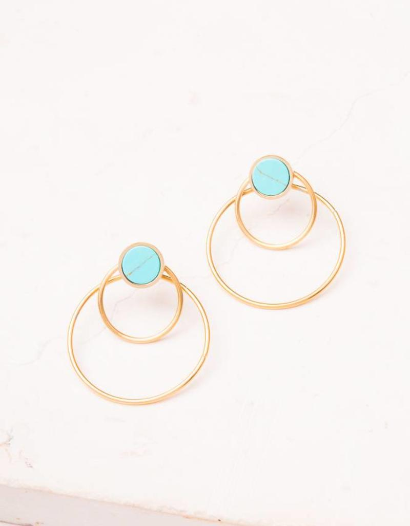 Starfish Project Bothina Turquoise & Gold Hoop Earrings
