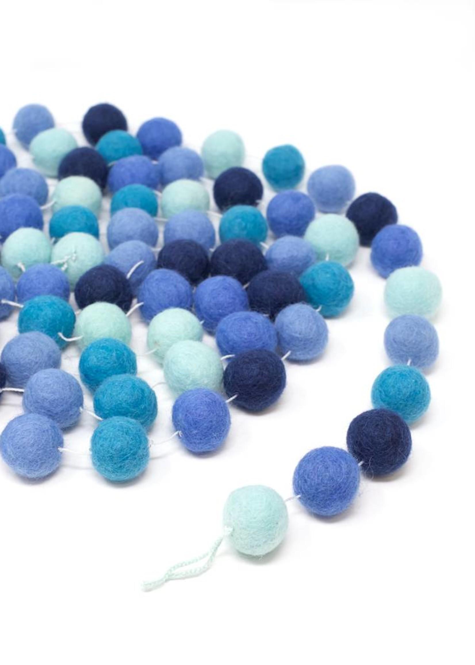 Ganesh Himal Blue Felt Ball Garland