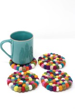 Ganesh Himal Felt Ball Coaster Set