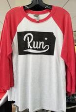 MRC KS RUN BASEBALL TEE (RED SLEEVES)