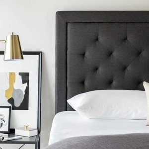 MALOUF STRUCTURES Rectangle Upholstered Headboard - Twin Charcoal