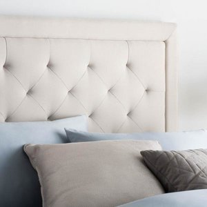 MALOUF STRUCTURES Rectangle Upholstered Headboard - Twin Ivory