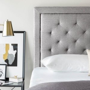 MALOUF STRUCTURES Rectangle Upholstered Headboard - Queen Stone