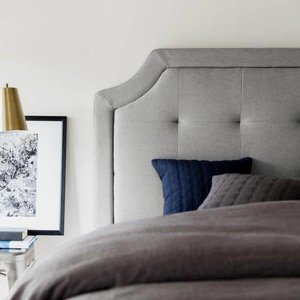 MALOUF STRUCTURES Scooped Square Upholstered Headboard - King/California King