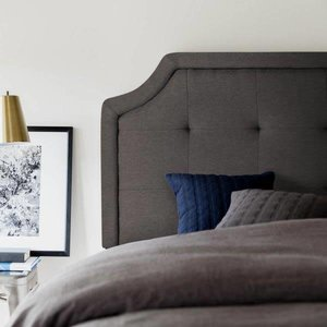 MALOUF STRUCTURES Scooped Square Upholstered Headboard - Queen