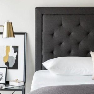 MALOUF STRUCTURES Rectangle Diamond Tufted Upholstered Headboard - King/California King