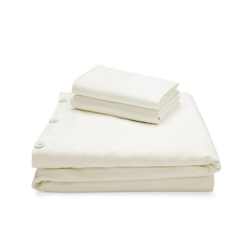 MALOUF WOVEN Bamboo Duvet Cover Set - King Ivory