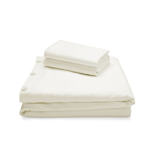 MALOUF WOVEN Bamboo Duvet Cover Set - Queen Ivory