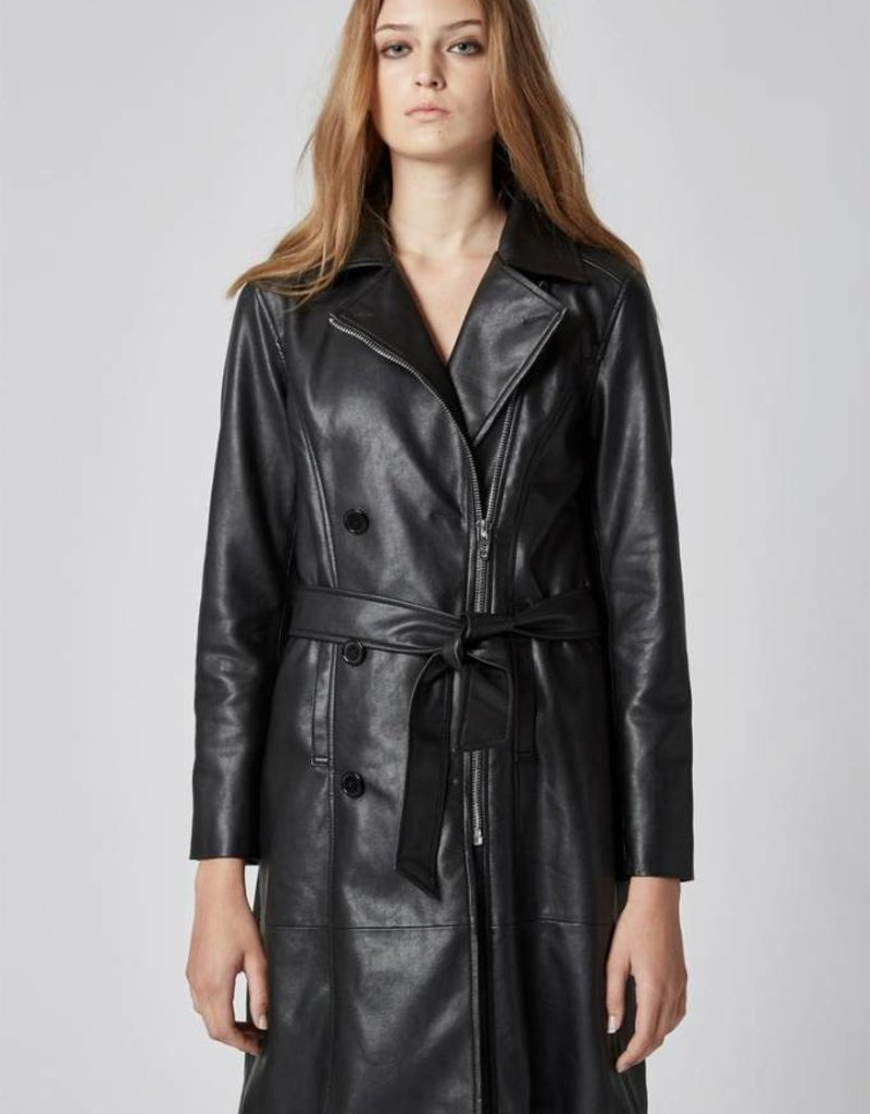 Blank-Faux Leather Trench