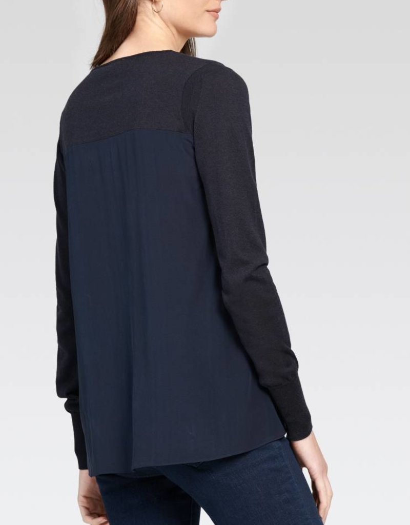 V-Neck with Silk Back