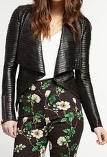 Faux Leather Strip Jacket
