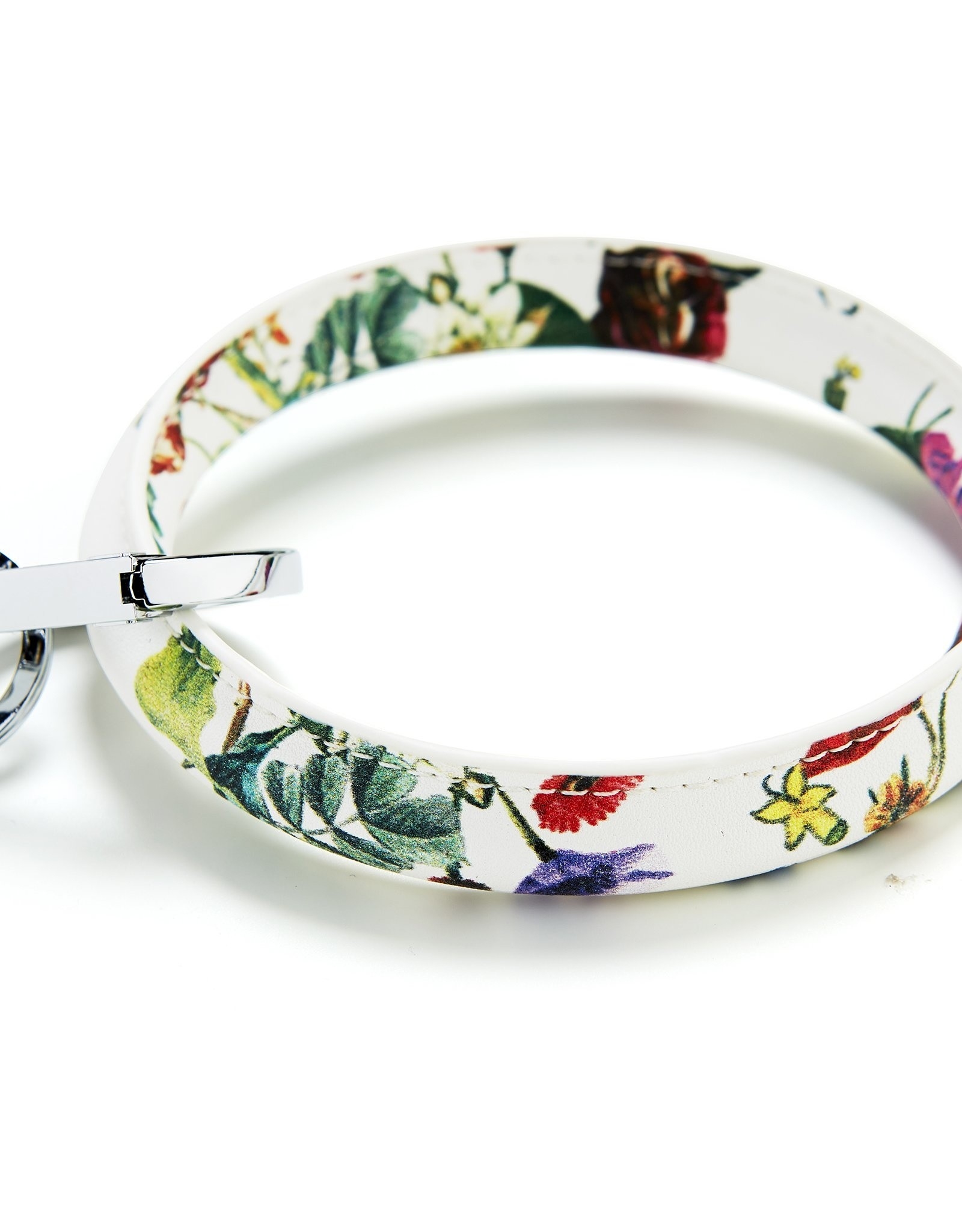 White Floral Big O Key Ring