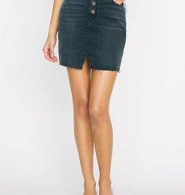 Indie Button Fly Denim Skirt