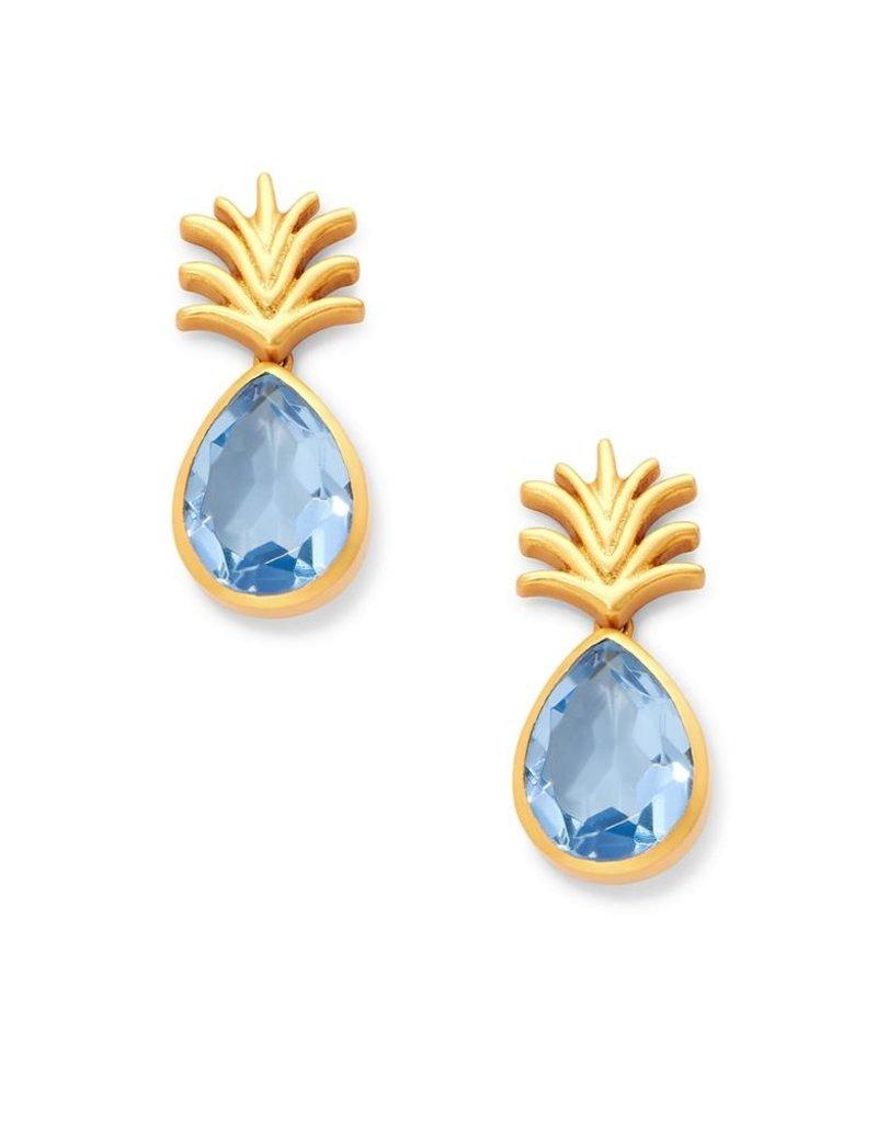 Pineapple Earring Chalcedony Blue