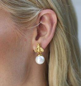Bee Pearl Drop Earring