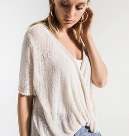 Britany-Front Twist Semi Sheer Sweater