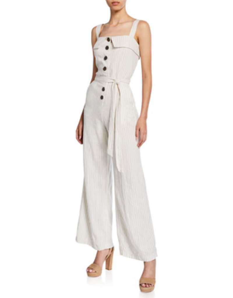 Stripe Linen Button Front Jumpsuit