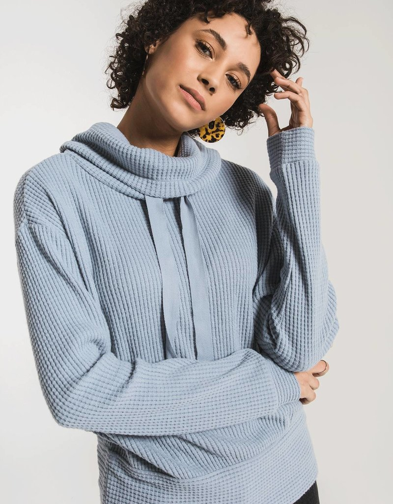 Cowl Neck Waffle Thermal Top