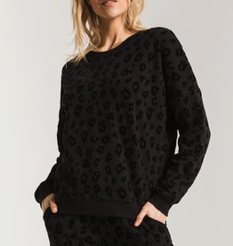 Flocked Animal Print Pullover