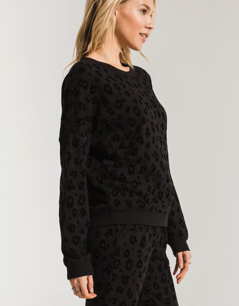 Flocked Animal Print Pullover