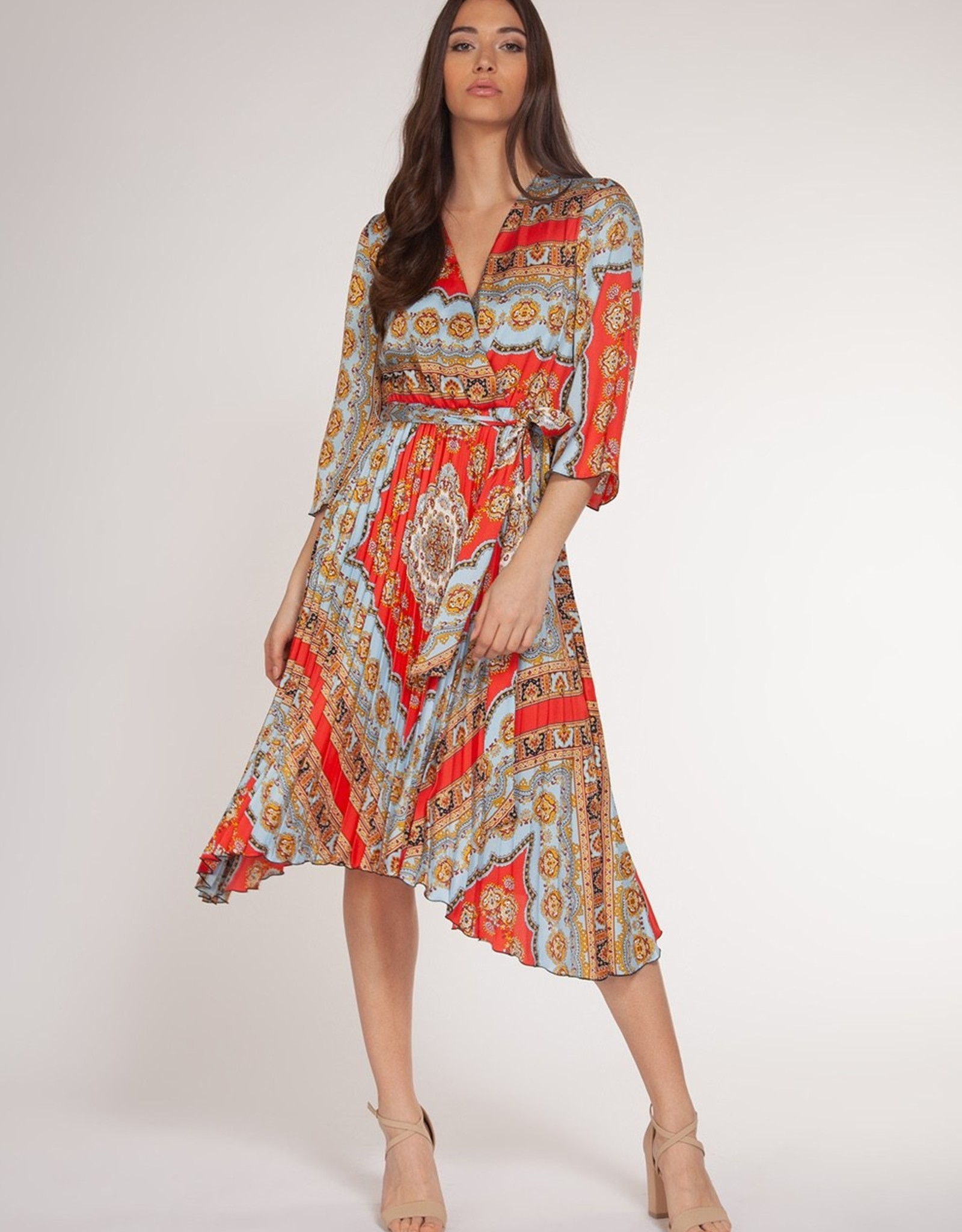 Chain Print Pleated Skirt Dress