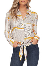 Black Tape Long Sleeve Blouse  with Tie Front