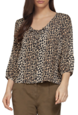 Leopard Print Top With 3/4 Sleeve