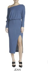 Jean Off Shoulder Midi Dress with slit