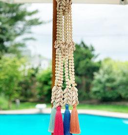 Bone Beaded Shell Tassel Necklace