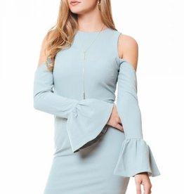 Open Shoulder Flare Cuff Dress