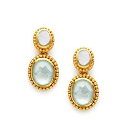 Siena Two Stone Earring Pearl and Aqua