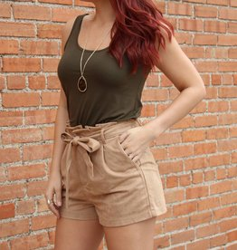 She + Sky High Waist Suede Shorts