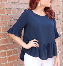 mittoshop Peplum Ruffled Sleeve Top