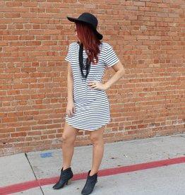 Yelete Striped Short Sleeve T-Shirt Dress