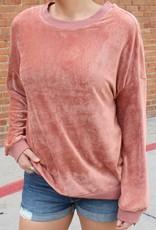 Listicle Corduroy Velvet Crew Neck Sweater